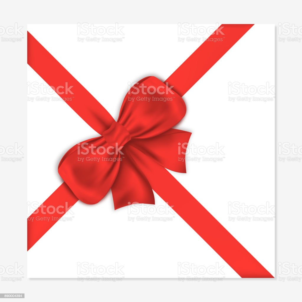 Gift Card With Luxury Red Bow Decorative Gift Bow With Satin Ribbon ...
