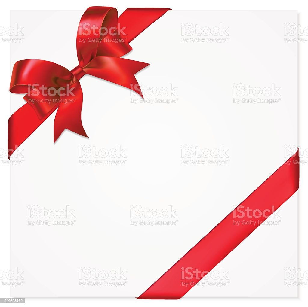 Gift Card with Red Bow and Ribbon vector art illustration