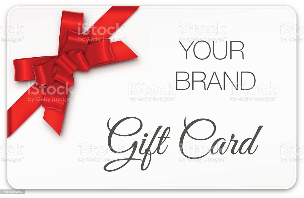 Gift Card with Red Bow vector art illustration