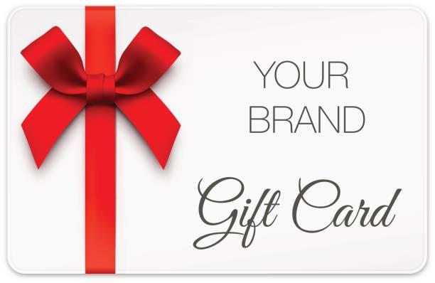 illustrazioni stock, clip art, cartoni animati e icone di tendenza di gift card with red bow - coupon