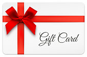 Vector illustration of gift card with red bow. EPS10 transparency effect, effect transparent shadows.