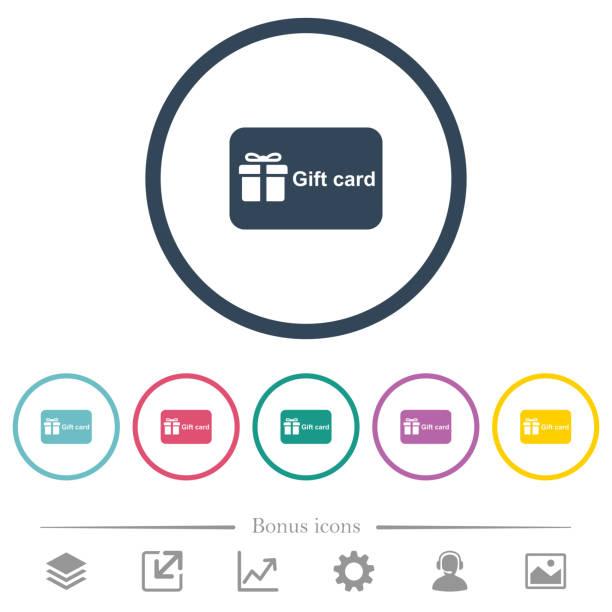 illustrazioni stock, clip art, cartoni animati e icone di tendenza di gift card with text flat color icons in round outlines - coupon