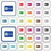 Gift card with text color flat icons in rounded square frames. Thin and thick versions included.