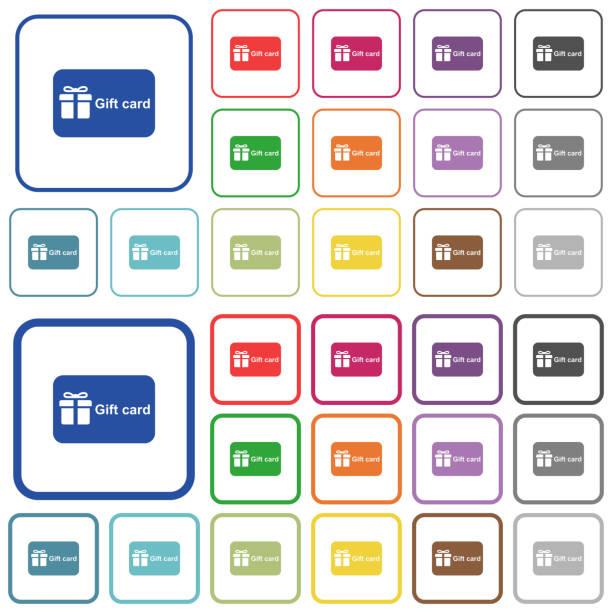 geschenk-karte mit text beschrieben flache farbige icons - swag stock-grafiken, -clipart, -cartoons und -symbole