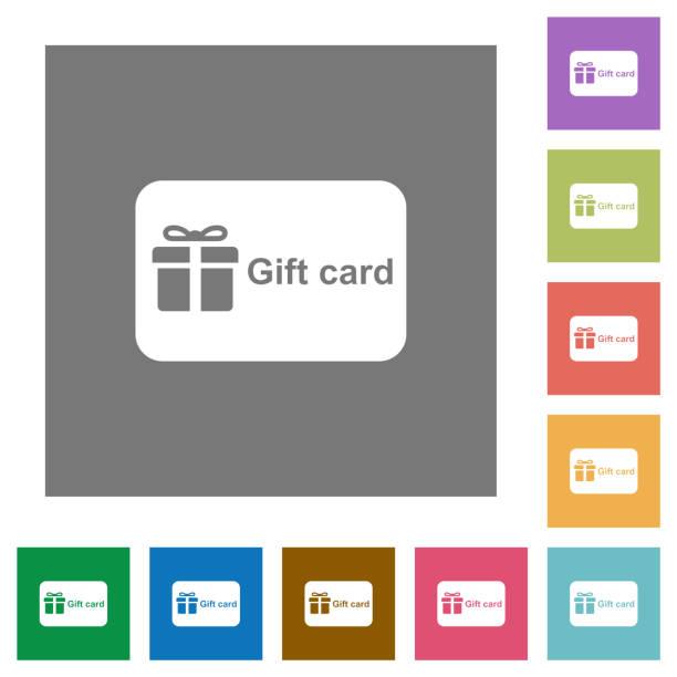 Geschenkkarte mit flachen Symbolen mit Textquadrat – Vektorgrafik
