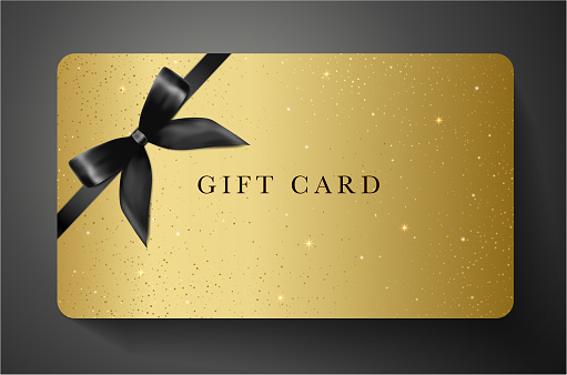 Gift card with twinkling stars, sparkling elements and back bow (ribbon) on gold background