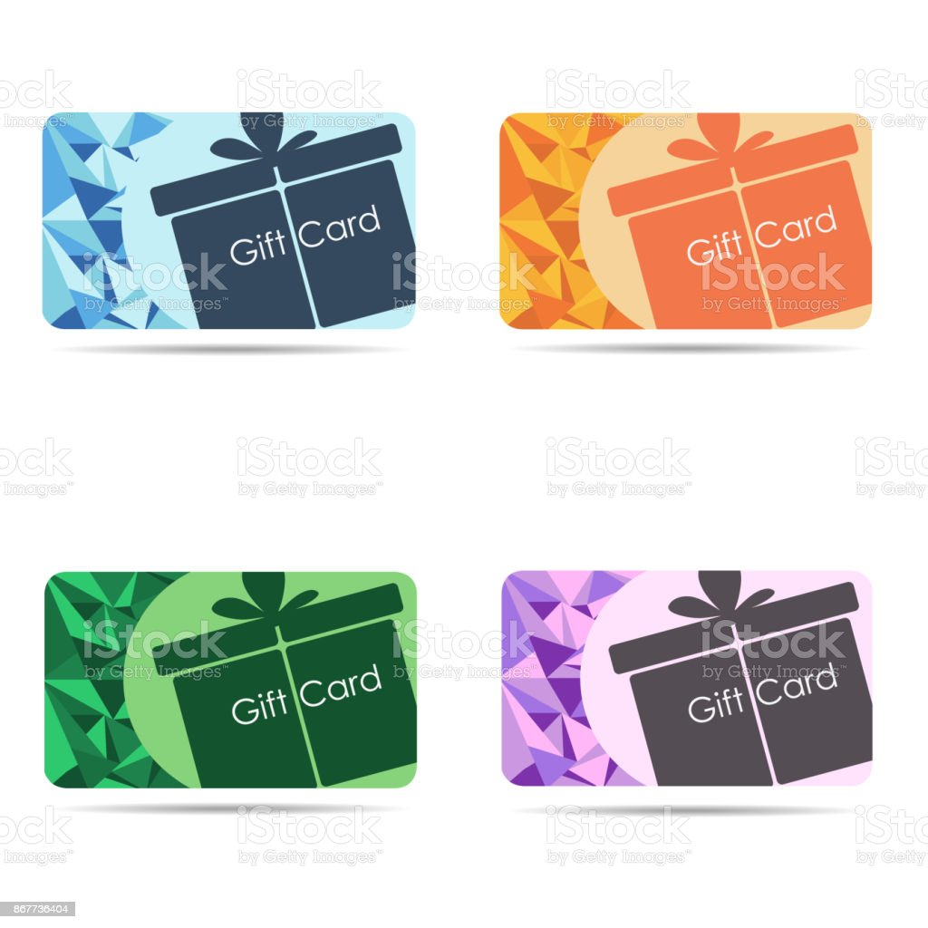 gift cards set isolated on white background stock