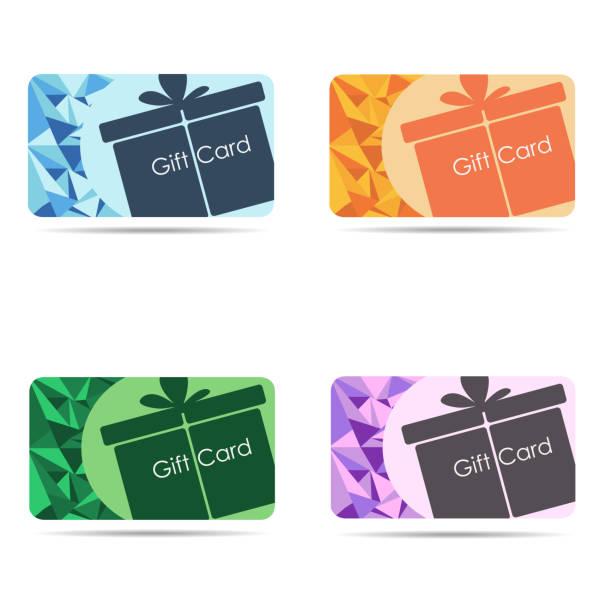 illustrazioni stock, clip art, cartoni animati e icone di tendenza di gift cards set isolated on white background - coupon