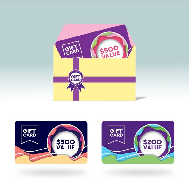 Gift Cards - Vector illustration Flyer - Leaflet, Multi-Colored Background, Template, Abstract gift card stock illustrations