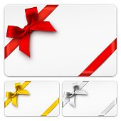Vector Gift Cards with red, golden and silver bows.