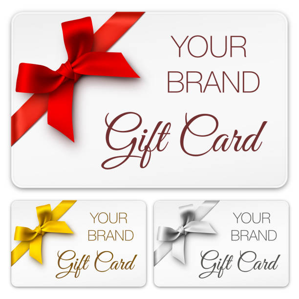 Gift Cards with Bows Vector illustration of gift cards with bows and text. Red, Gold, Silver bow. EPS10 transparency effect, effect transparent shadows. gift card stock illustrations