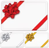 Vector illustration of gift cards with bows. EPS10 transparency effect, effect transparent shadows.
