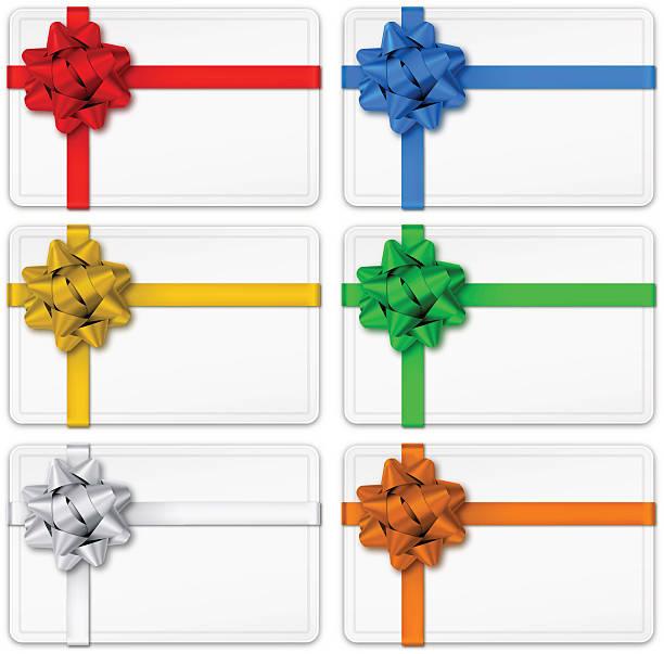 bildbanksillustrationer, clip art samt tecknat material och ikoner med gift cards with bows - blue yellow band