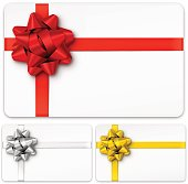 Vector illustration of gift cards with bows. Red, Gold, Silver bow. EPS10 transparency effect, effect transparent shadows.