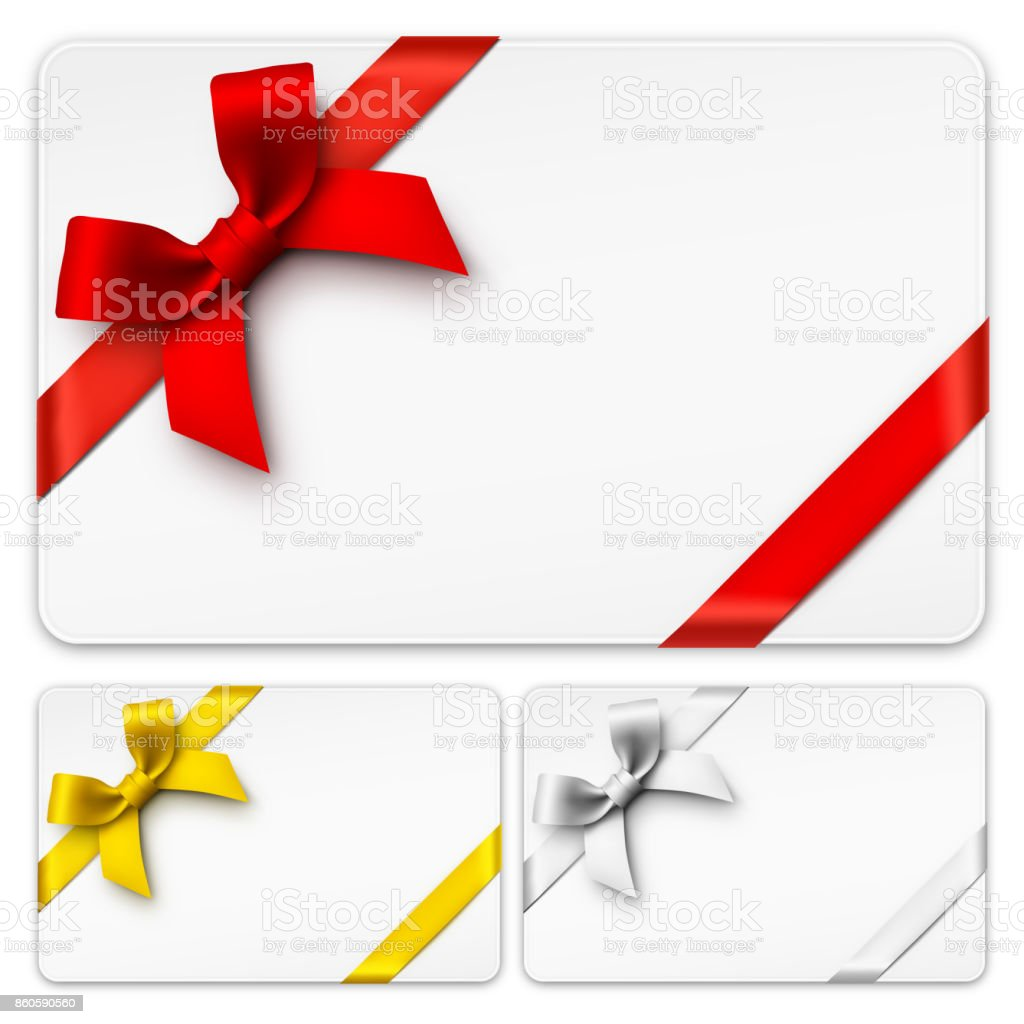 Gift Cards with Bows vector art illustration