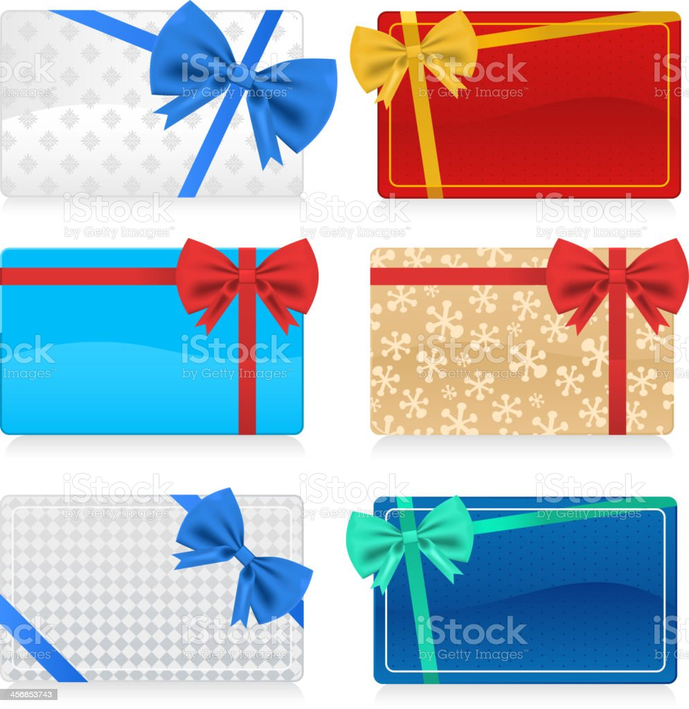 Gift Cards with Color Bow vector art illustration