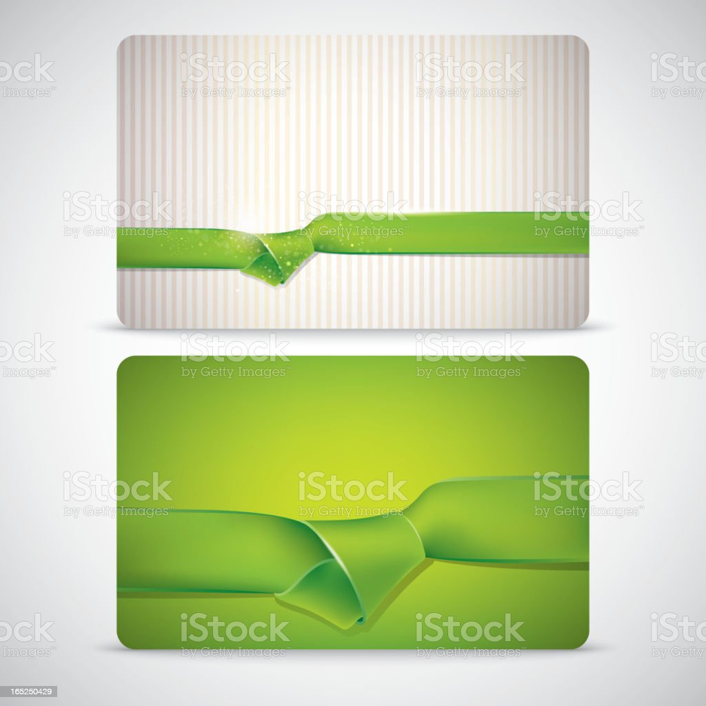 gift cards with green ribbons royalty-free stock vector art