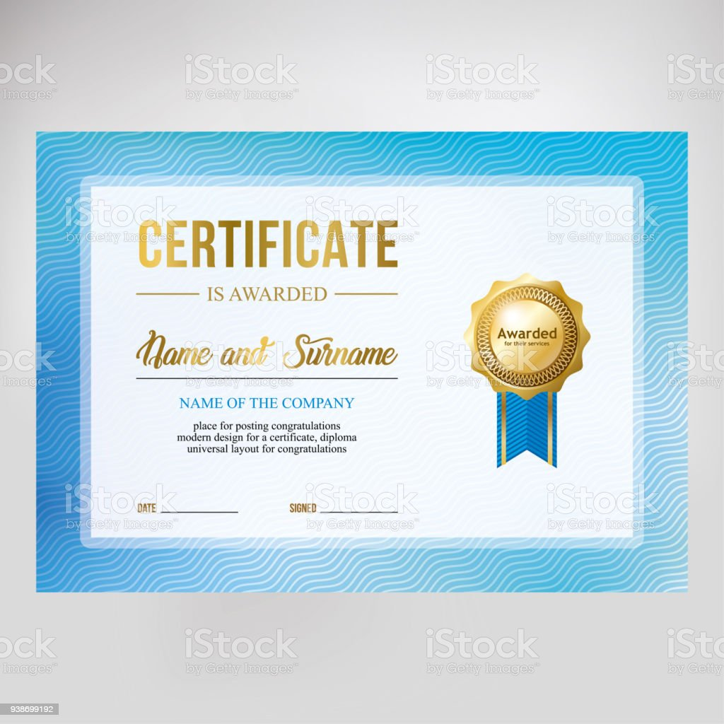 gift certificate design honorary diploma creative blue background