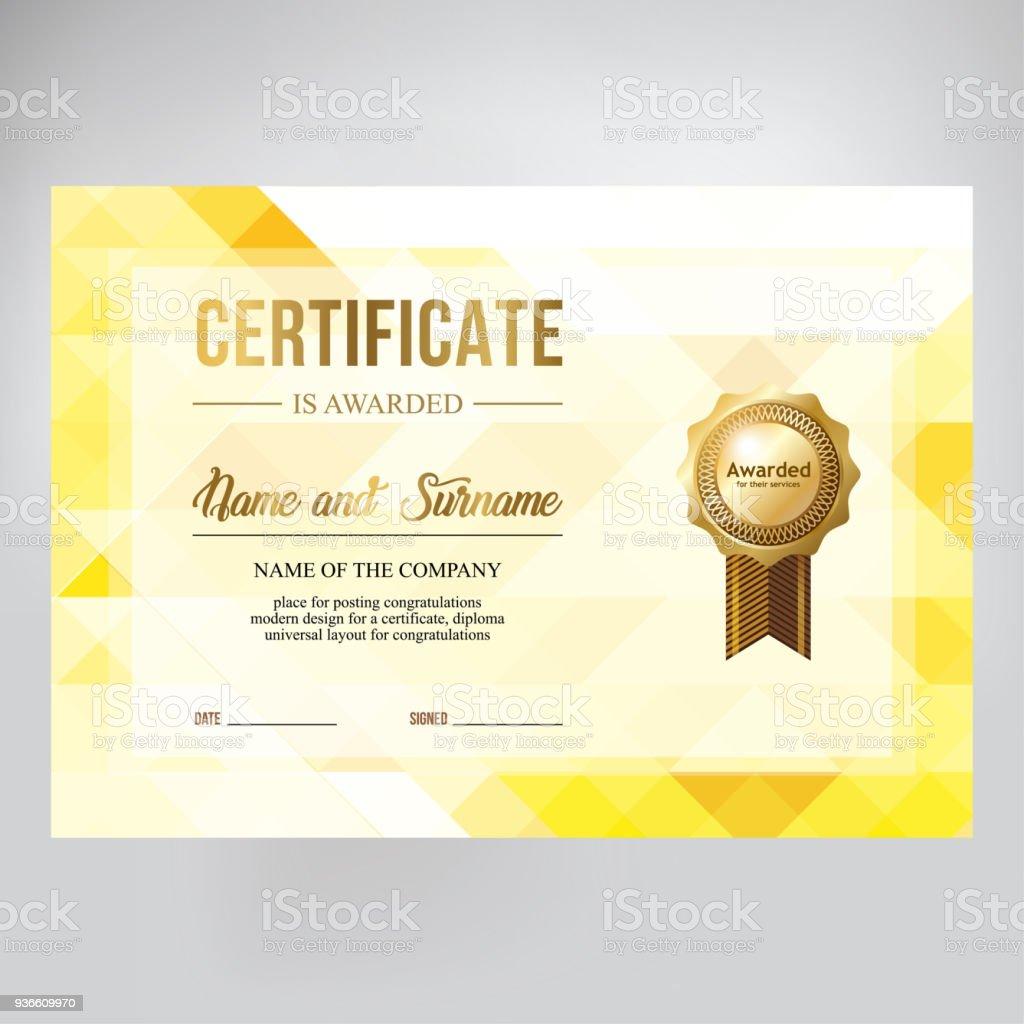 gift certificate design honorary diploma creative geometric gold