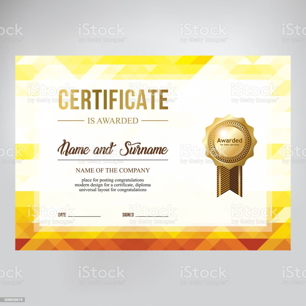 gift certificate design honorary diploma creative geometric gold