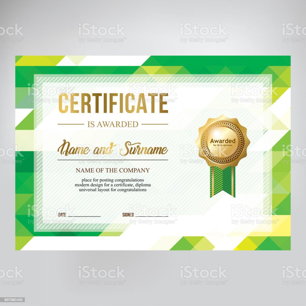 gift certificate design honorary diploma creative geometric green