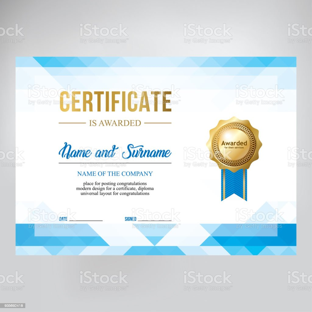 Gift Certificate Diploma Template Background Modern Geometric Design