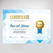 Gift certificate, diploma, template background, modern geometric design