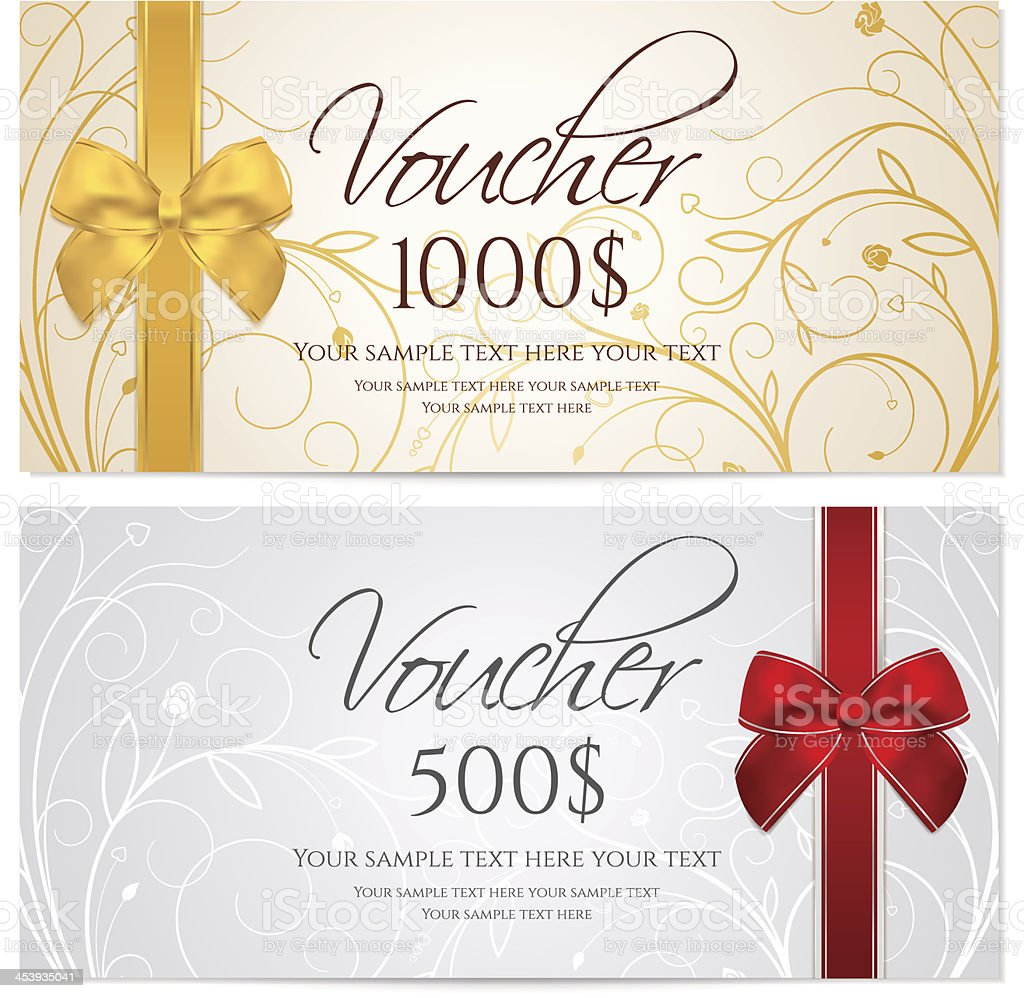 Gift certificate (Voucher / coupon) floral, scroll pattern (money, currency, check) vector art illustration