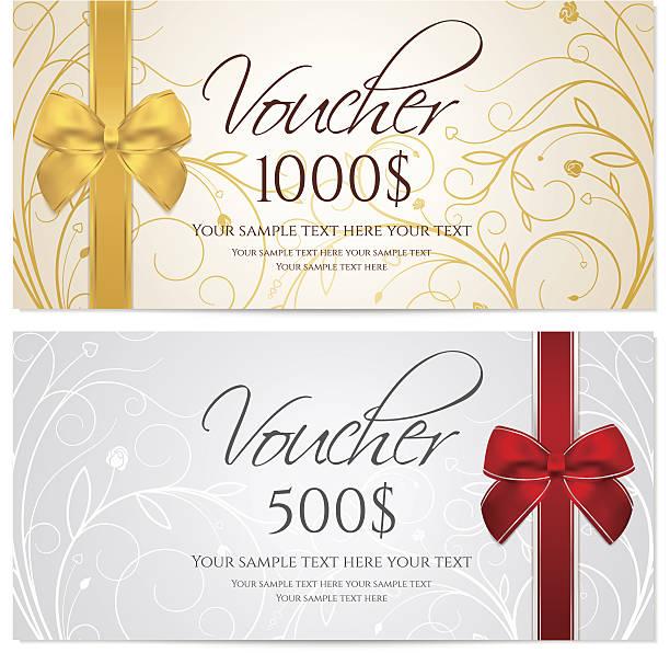 stockillustraties, clipart, cartoons en iconen met gift certificate (voucher / coupon) floral, scroll pattern (money, currency, check) - birthday gift voucher