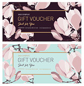 Discount card. Vector illustration of magnolia flower with leaves