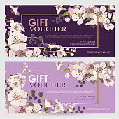 Flowering branches on a purple background. Vector illustration