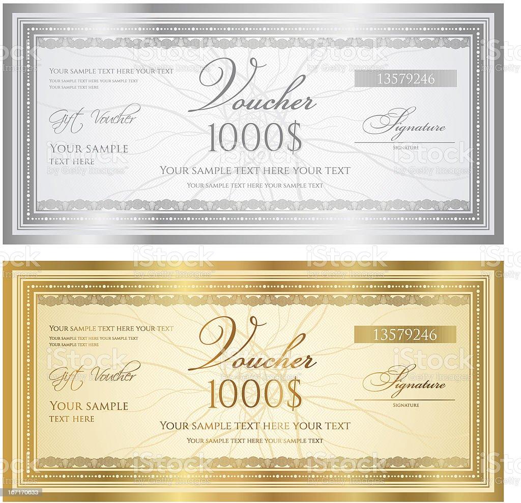 Certificado de regalo (guilloche cupón/cupón) (billete de banco de patrones, fondos, moneda, revise) - ilustración de arte vectorial