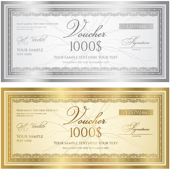 ilustraciones, imágenes clip art, dibujos animados e iconos de stock de certificado de regalo (guilloche cupón/cupón) (billete de banco de patrones, fondos, moneda, revise) - marcos de certificados y premios