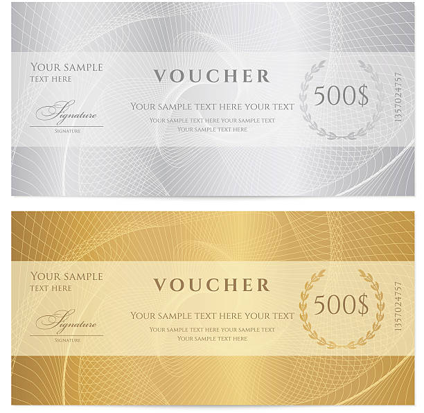 Gift certificate (voucher / coupon) guilloche pattern (banknote, money, currency, check) Similar Files: banking borders stock illustrations