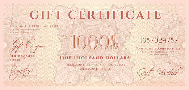 Gift certificate (voucher / coupon) guilloche pattern (banknote, money, currency, check) JPEG without text included banking borders stock illustrations