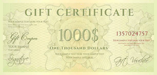 Gift certificate (voucher / coupon) guilloche pattern (banknote, money, currency, check) Download include blank (clear note) JPEG file (without text) banking borders stock illustrations