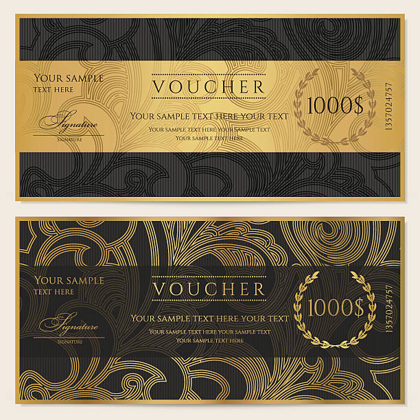 gift certificate (voucher / coupon) pattern (ticket, banknote, money, currency, check) - tickets and vouchers templates stock illustrations