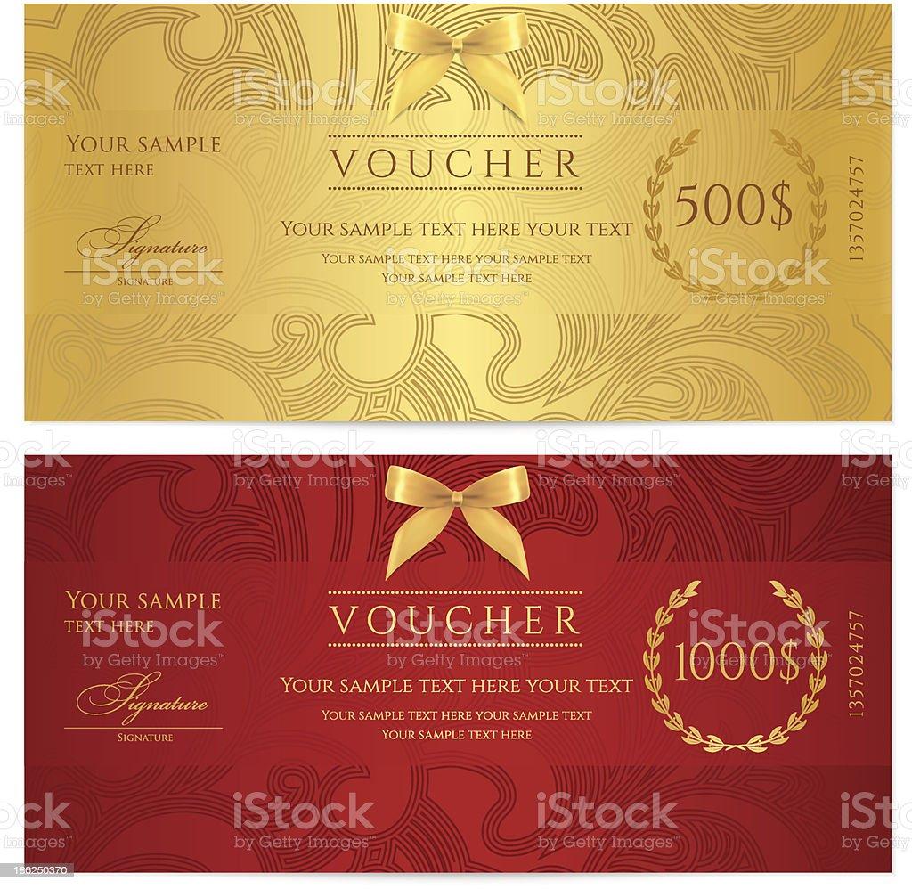 Certificado de regalo (cupón/cupón) patrón (incidencia, fondos, billete de banco de moneda, revise) - ilustración de arte vectorial
