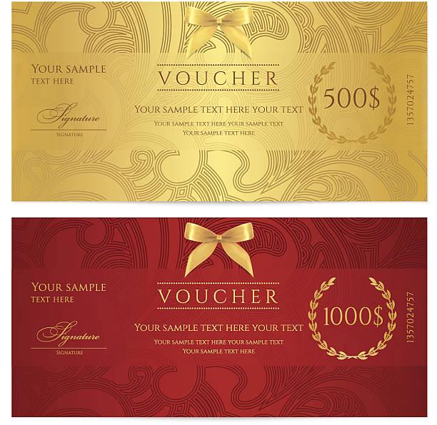 ilustraciones, imágenes clip art, dibujos animados e iconos de stock de certificado de regalo (cupón/cupón) patrón (incidencia, fondos, billete de banco de moneda, revise) - marcos de certificados y premios