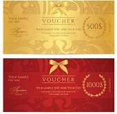 Gift certificate (voucher / coupon) pattern (ticket, banknote, money, currency, check)