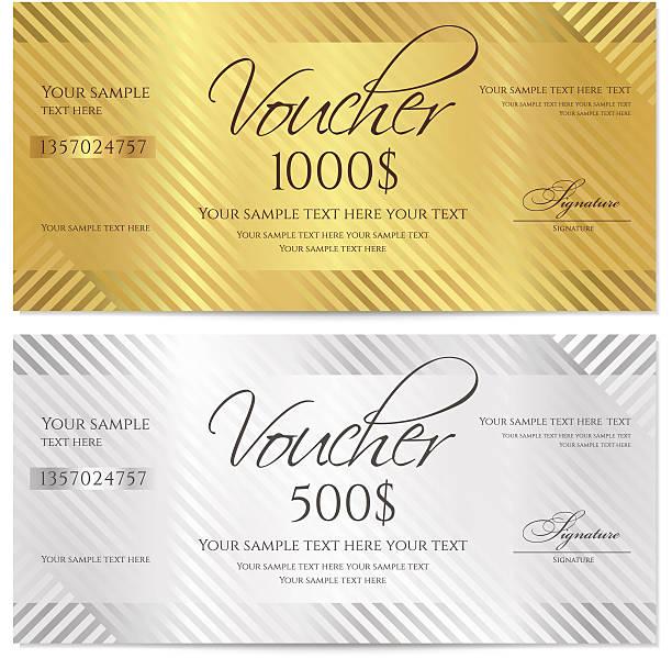 ilustraciones, imágenes clip art, dibujos animados e iconos de stock de certificado de regalo (cupón/cupón) raya patrón, bow (dinero, moneda, revise) - marcos de certificados y premios