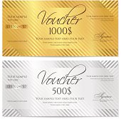 Gift certificate (Voucher / coupon) stripe pattern, bow (money, currency, check)
