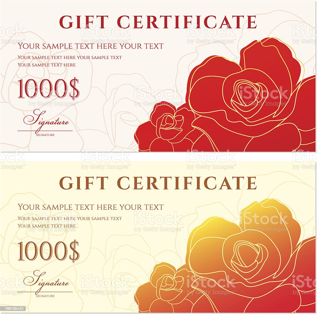 Gift certificate stock vector art more images of abstract gift certificate voucher template flower pattern rose on a background royalty yadclub Gallery