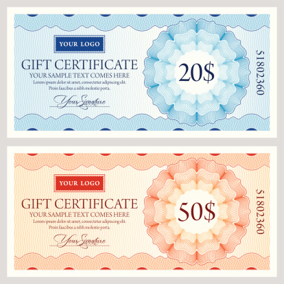 Gift certificate template in two colors