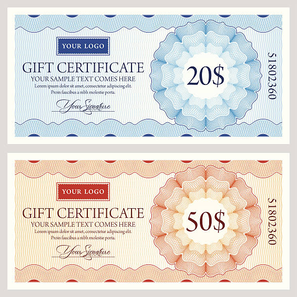 Gift certificate template in two colors A design template for a gift certificate, coupon or voucher. with plenty of copy space for your firm's logo and other texts. Includes intricate and precise Guilloche security patterns. tickets and vouchers templates stock illustrations