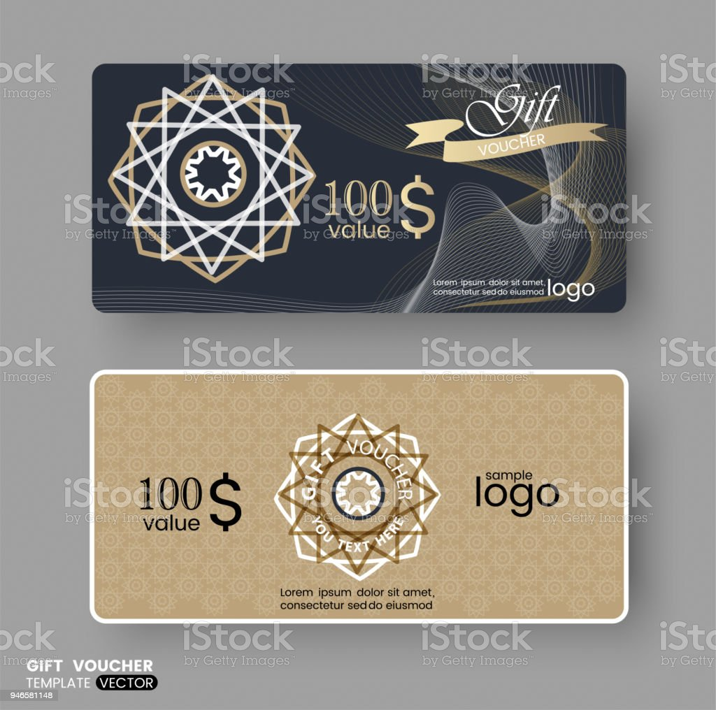 Gift Certificate Voucher Coupon Business Cards Template With Gold ...