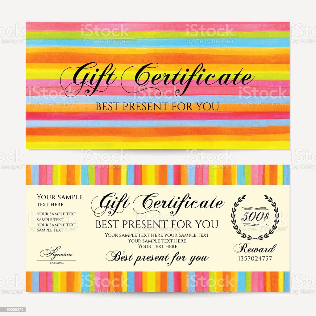 Gift certificate voucher coupon money gift card template stock gift certificate voucher coupon money gift card template colorful lines yelopaper Image collections