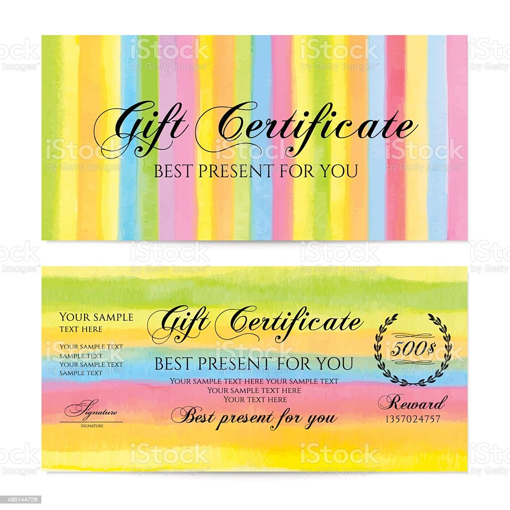 gift certificate voucher coupon money gift card template stock