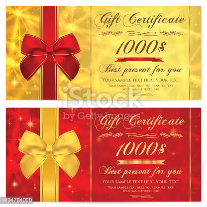 gift certificate voucher coupon reward template with ribbon stock