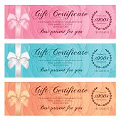 Gift certificate, Voucher, Coupon, Reward or Gift card template with floral rose pattern, bow (ribbon). Set background flower design for gift banknote, check, gift money bonus, ticket, flyer, banner